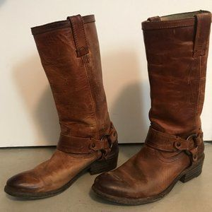 Frye 6 Carson Harness Motorcycle Boots Cognac